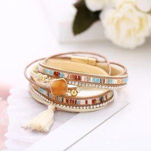 Boho Beaded Stone Tassel Wrap Bracelet NEW